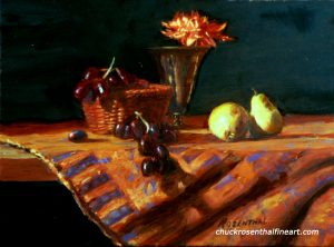 Pears with Black Grapes fine art by Chuck Rosenthal
